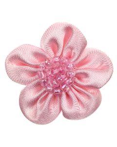 Pink Beaded Ribbon Flower Embellishment