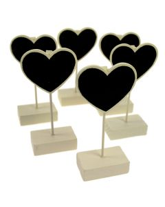 Chalkboard Heart Clip Stands (Set of 6)