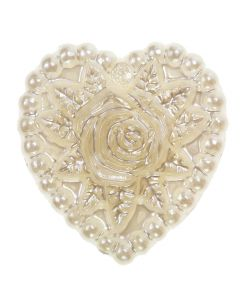 Ivory Floral Heart Embellishment