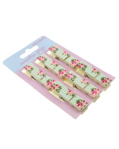 Gingham Wooden Pegs - Pack