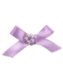 Lilac Ribbon Bow and Pearl Cluster