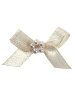 Cream Ribbon Bow and Pearl Cluster