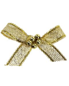 Gold Lurex Ribbon Bow and Pearl Cluster
