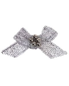 Silver Lurex Ribbon Bow and Pearl Cluster