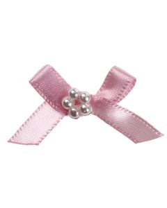 Pink Ribbon Bow and Pearl Cluster