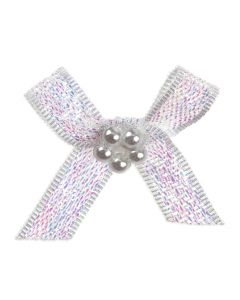 Iridescent Ribbon Bow and Pearl Cluster