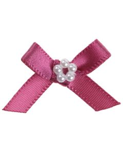 Dusky Pink Ribbon Bow and Pearl Cluster