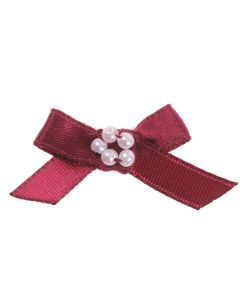 Wine Ribbon Bow and Pearl Cluster