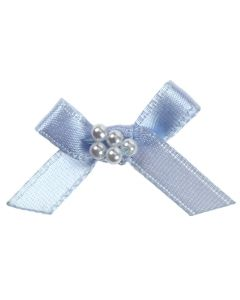 Sky Blue Ribbon Bow and Pearl Cluster