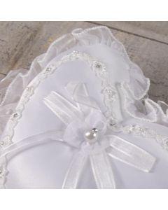 White Wedding Ring Cushion