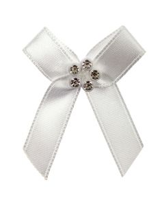 White Ribbon Bow with Diamante Cluster