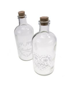 Vintage Bottles with Heart Decoration