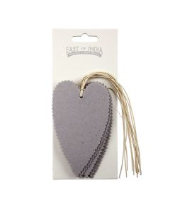Grey Deckle Edged Heart Tags Pack