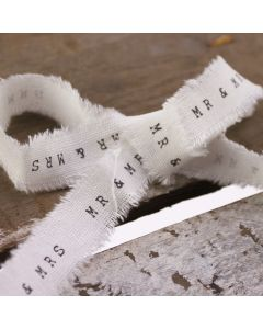 Mr & Mrs Frayed Edge Ribbon