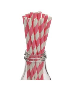 Striped Pink Paper Straws in Milk Bottle