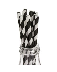 Striped Monochrome Paper Straws in Milk Bottle