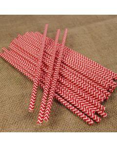 Red Chevron Paper Straws