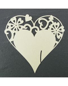 Laser Cut Heart Place Cards Iridescent White