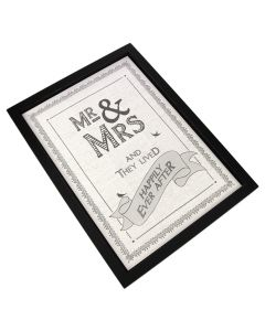 Framed 'Mr and Mrs' Print