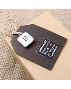 Bridesmaid Tag with Porcelain Charm