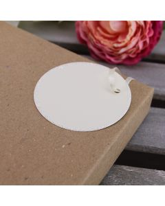 Glitter Edged Circle Tags (Ivory)