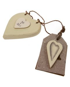 Wooden 'Mr & Mrs' Heart with Tag