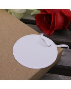 Glitter Edged Circle Tags (White)