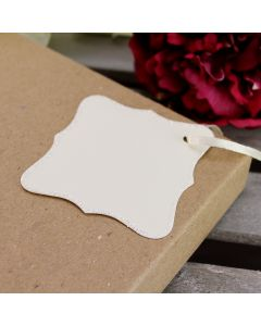 Glitter Edged Ornate Tags (Ivory)