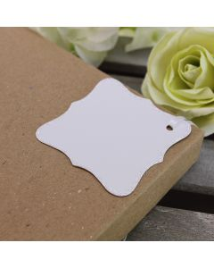 Glitter Edged Ornate Tags (White)