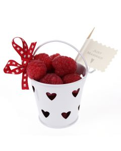Heart Favour Pail with Raspberries
