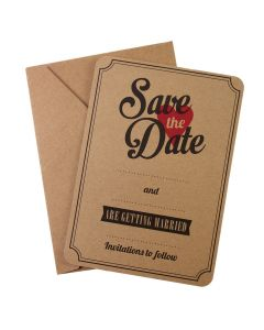 Kraft Save the Date Invitations - Vintage Affair - with envelope