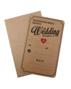 Kraft Wedding Reception Invitations - Vintage Affair with envelope