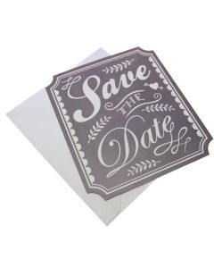 Grey Chalkboard Style Save the Dates - Vintage Affair - with envelope