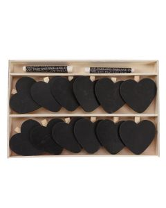Boxed set of 12 Chalkboard Heart Clips