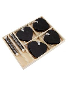 Boxed set of 8 Chalkboard Heart Tags