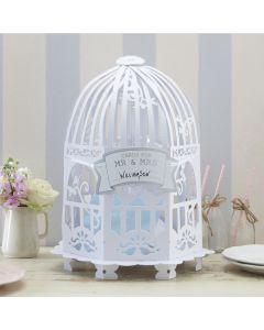 Birdcage Card Holder - White