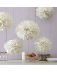 Tissue Paper Pom Poms - Ivory