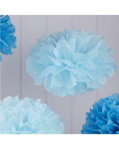 Tissue Paper Pom Poms - Baby and Dark Blue