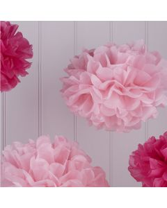 Tissue Paper Pom Poms - Hot and Light Pink