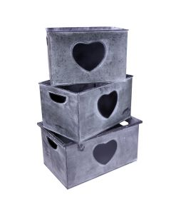 Set of 3 Vintage Style Tin Crates with Chalkboard Hearts