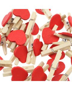 Mini Pegs - Red Hearts - Pack of 20 Red Heart Pegs