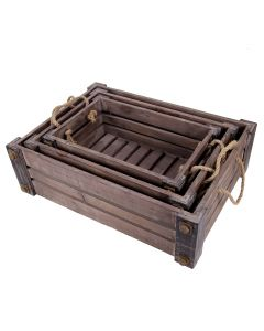 Set of 3 Nesting Crates with Rope Handles