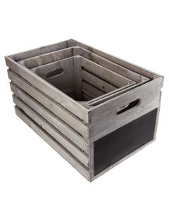 Set of 3 Nesting Crates with Chalkboards