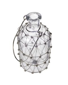 Hanging Bottle with Pretty Wire Netting Overlay