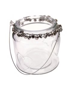 Decorative Hanging Jar with Silver Bells and Heart Details