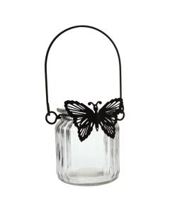 Glass Tea Light Holder with Metal Butterfly