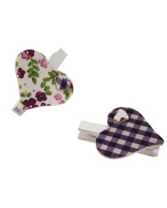 Floral & Gingham Heart Pegs