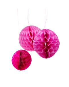 Round Pink (Set of 3 different sizes) Honeycomb Paper Decoration