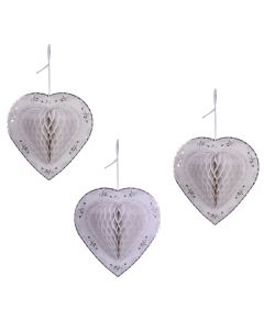 Heart White (Set of 3) Honeycomb Paper Decoration