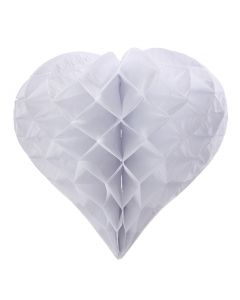 Large Heart-Shaped White Honeycomb Paper Decoration
